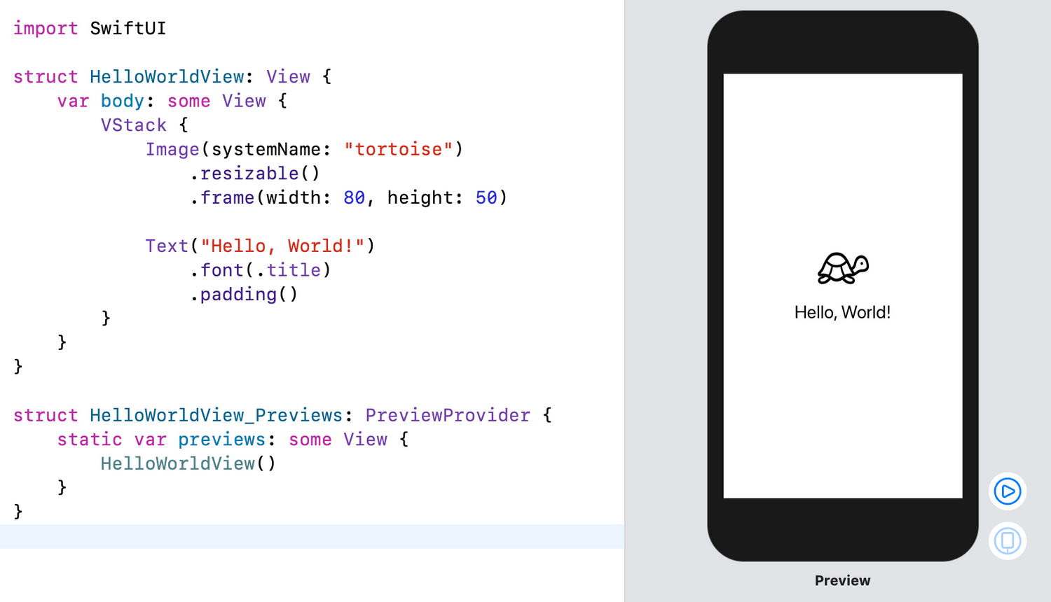 A basic SwiftUI view example.
